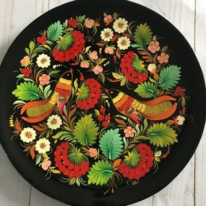 Russian Lacquer Wooden Wall Plate